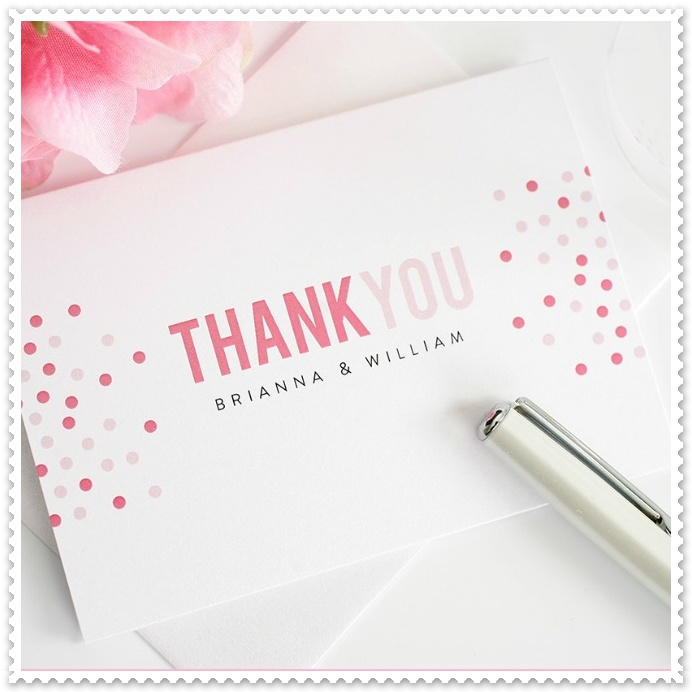 Modern pink thank you cards